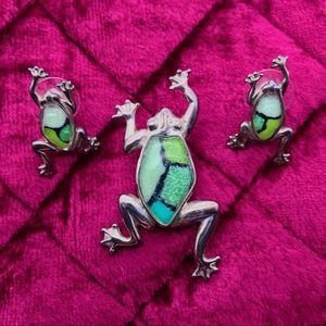 Green Frog Earring and Pin Set